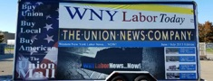 WNY Labor Today banner on the side of a trailer