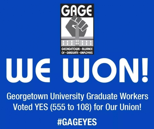 Georgetown University Graduate Employees Cast 'Historic & Decisive' Vote As They Delivered Their Intent To Bargain With University Administration